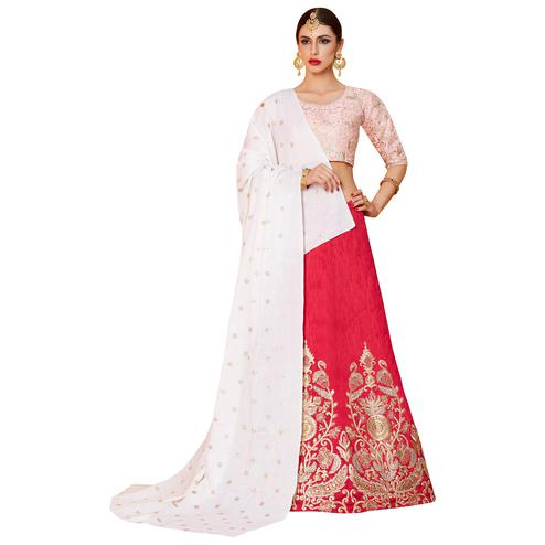 Charming Pink Colored Partywear Embroidered Art Silk Lehenga Choli
