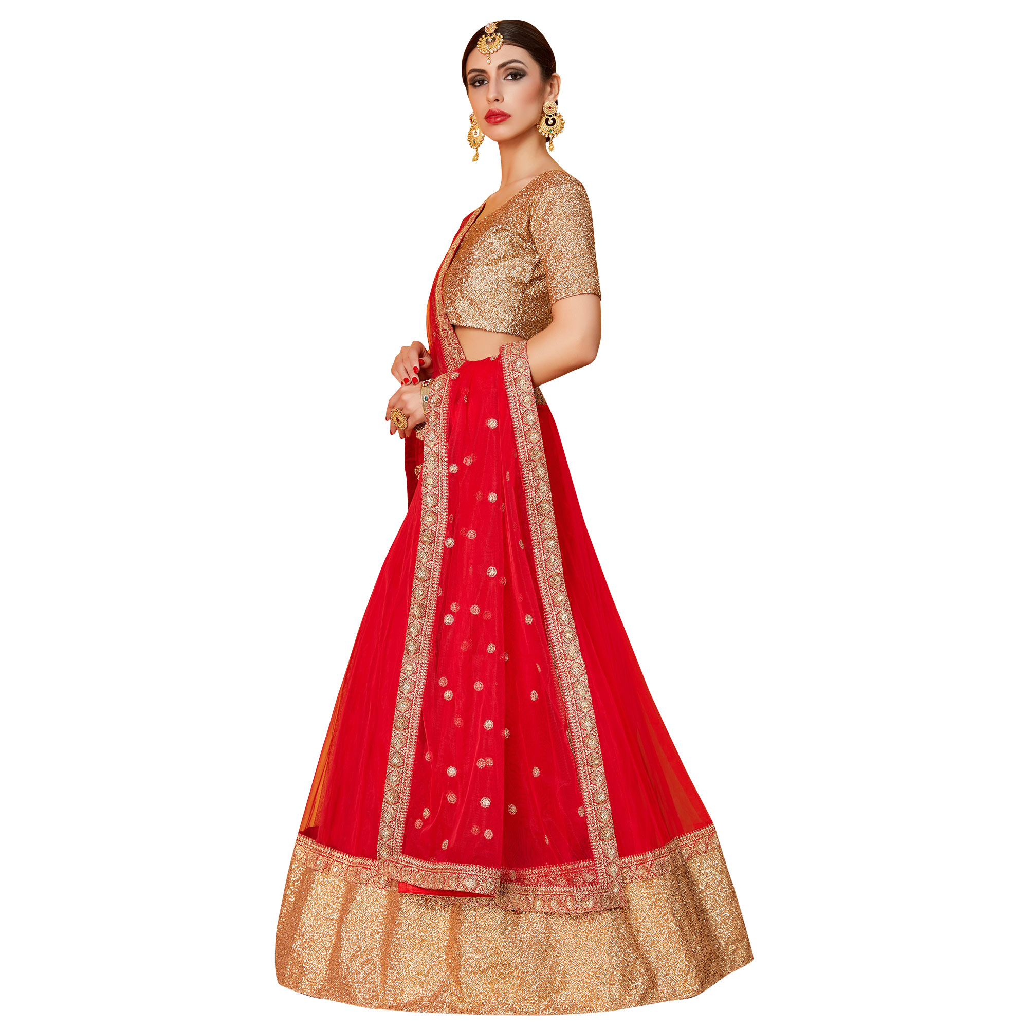 Traditional Red Colored Partywear Embroidered Art Silk Lehenga Choli