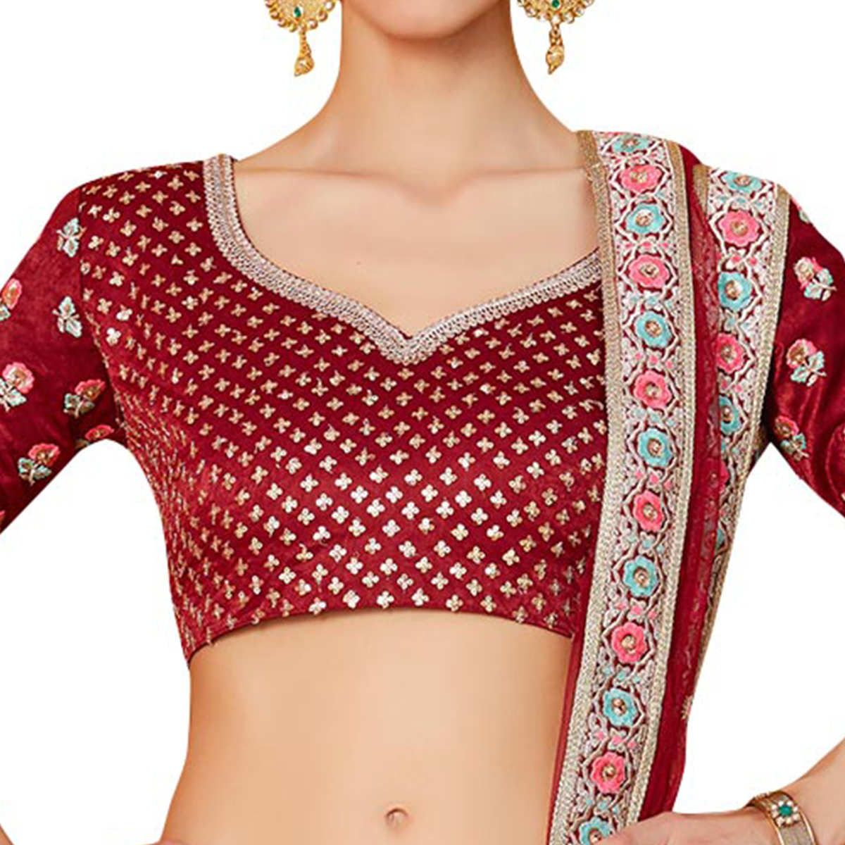Blooming Maroon Colored Partywear Embroidered Velvet Silk Lehenga Choli