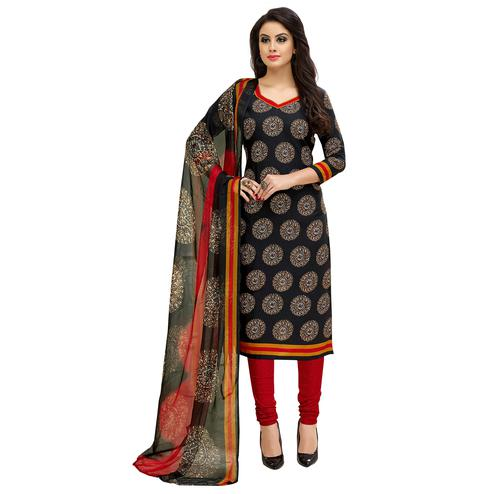 Beautiful Black Colored Casual Printed Cotton Suit