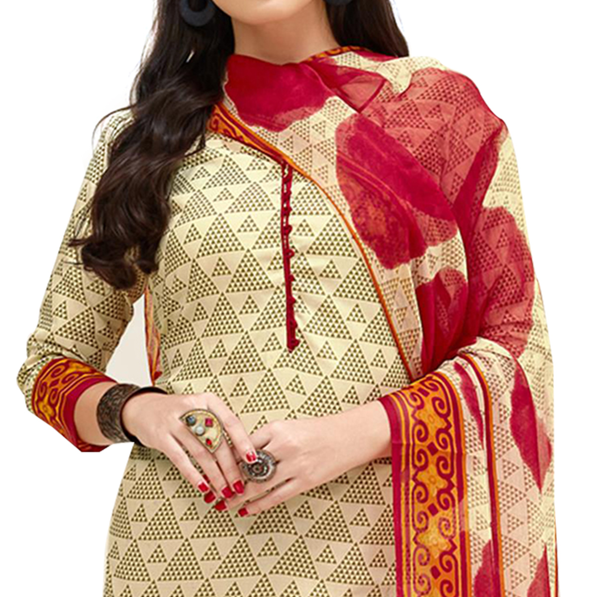 Adorning Cream Colored Casual Printed Cotton Suit