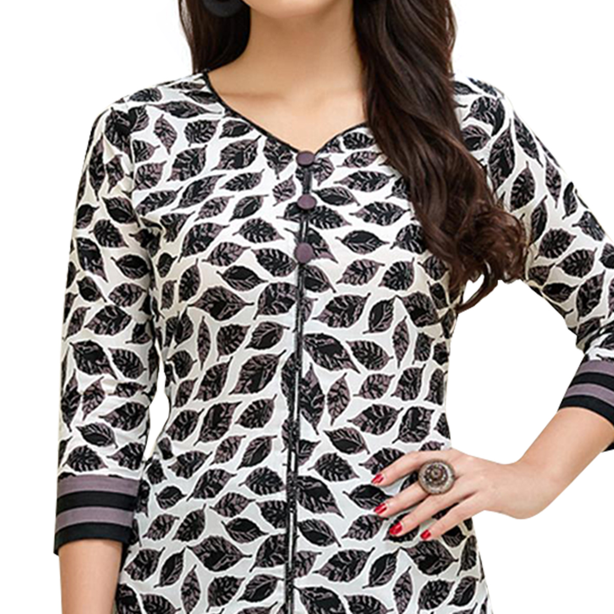 Groovy White Colored Casual Printed Cotton Suit
