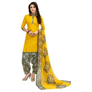 Glowing Yellow Colored Casual Printed Cotton Suit