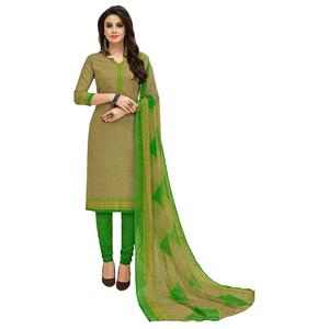 Different Light Olive Green Colored Casual Printed Cotton Suit