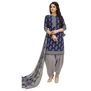 Desiring Blue Colored Casual Printed Cotton Suit