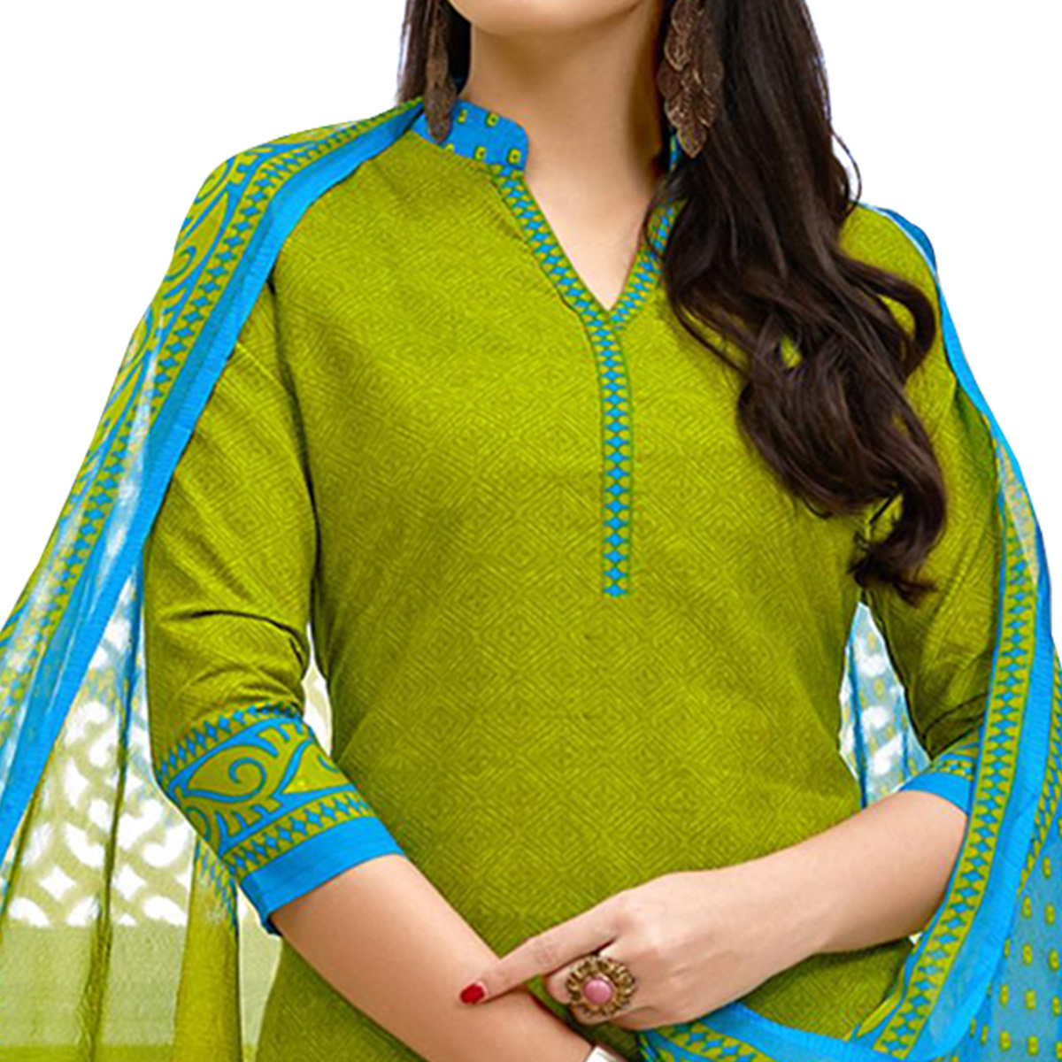 Gleaming Green Colored Casual Printed Cotton Suit
