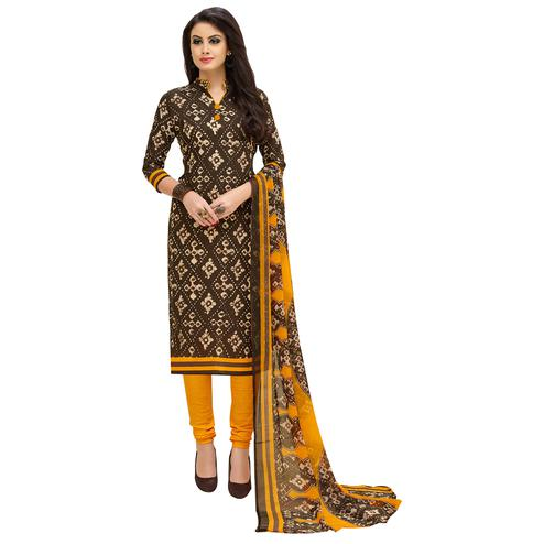 Bold Brown Colored Casual Printed Cotton Suit