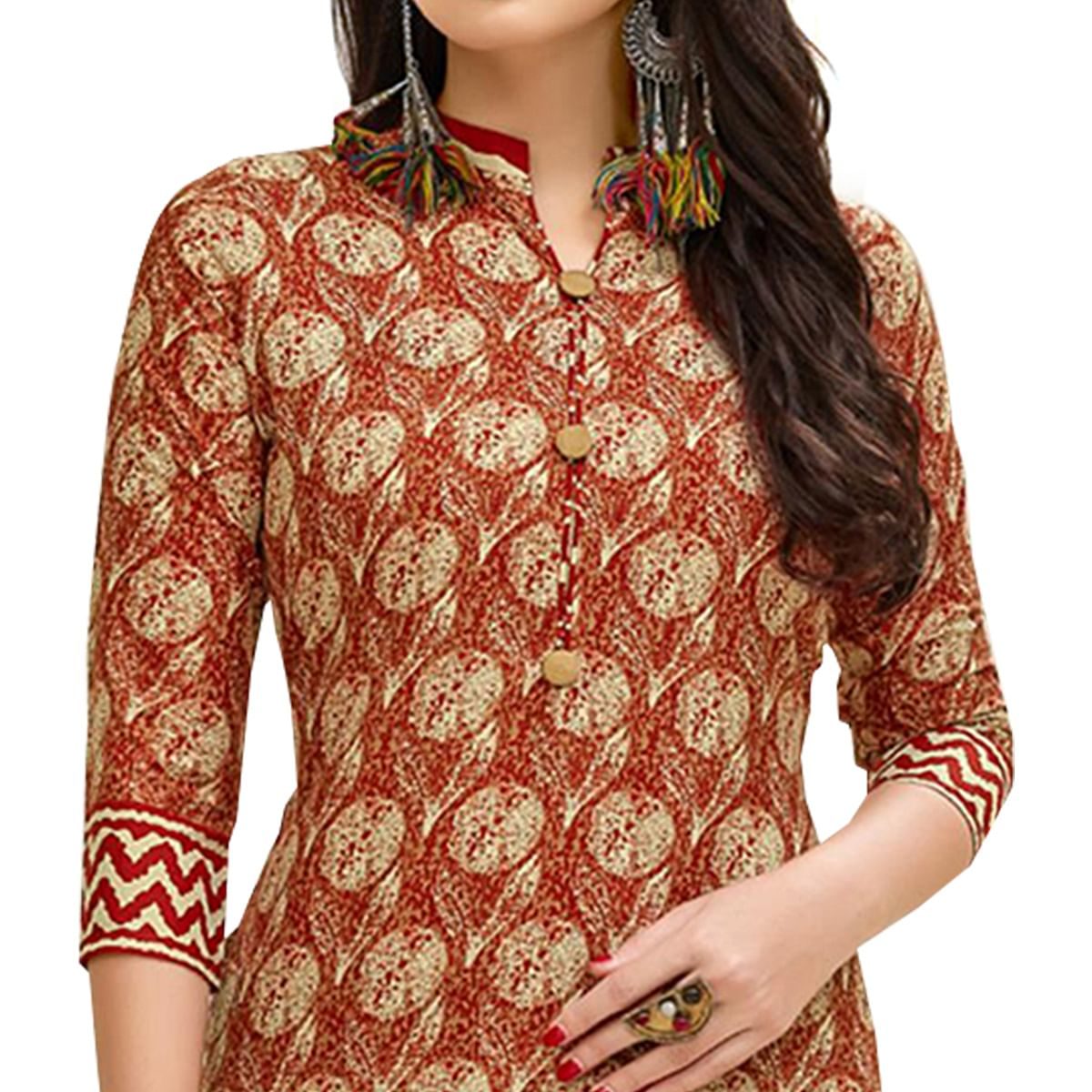 Eye-Catching Red Colored Casual Printed Cotton Suit