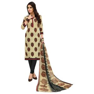 Mesmeric Cream Colored Casual Printed Cotton Suit