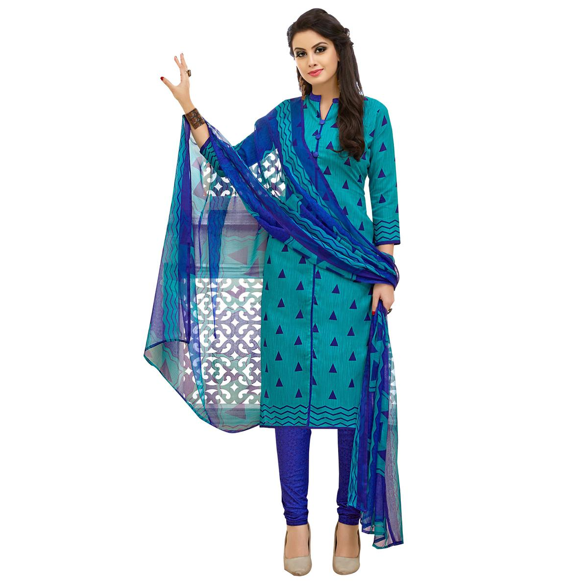Majestic Blue Colored Casual Printed Cotton Suit