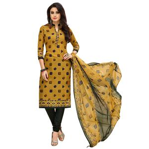 Lovely Mustard Yellow Colored Casual Printed Cotton Suit