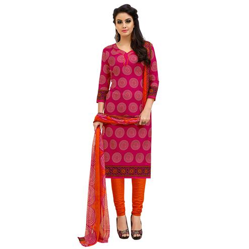 Charming Pink Colored Casual Printed Cotton Suit