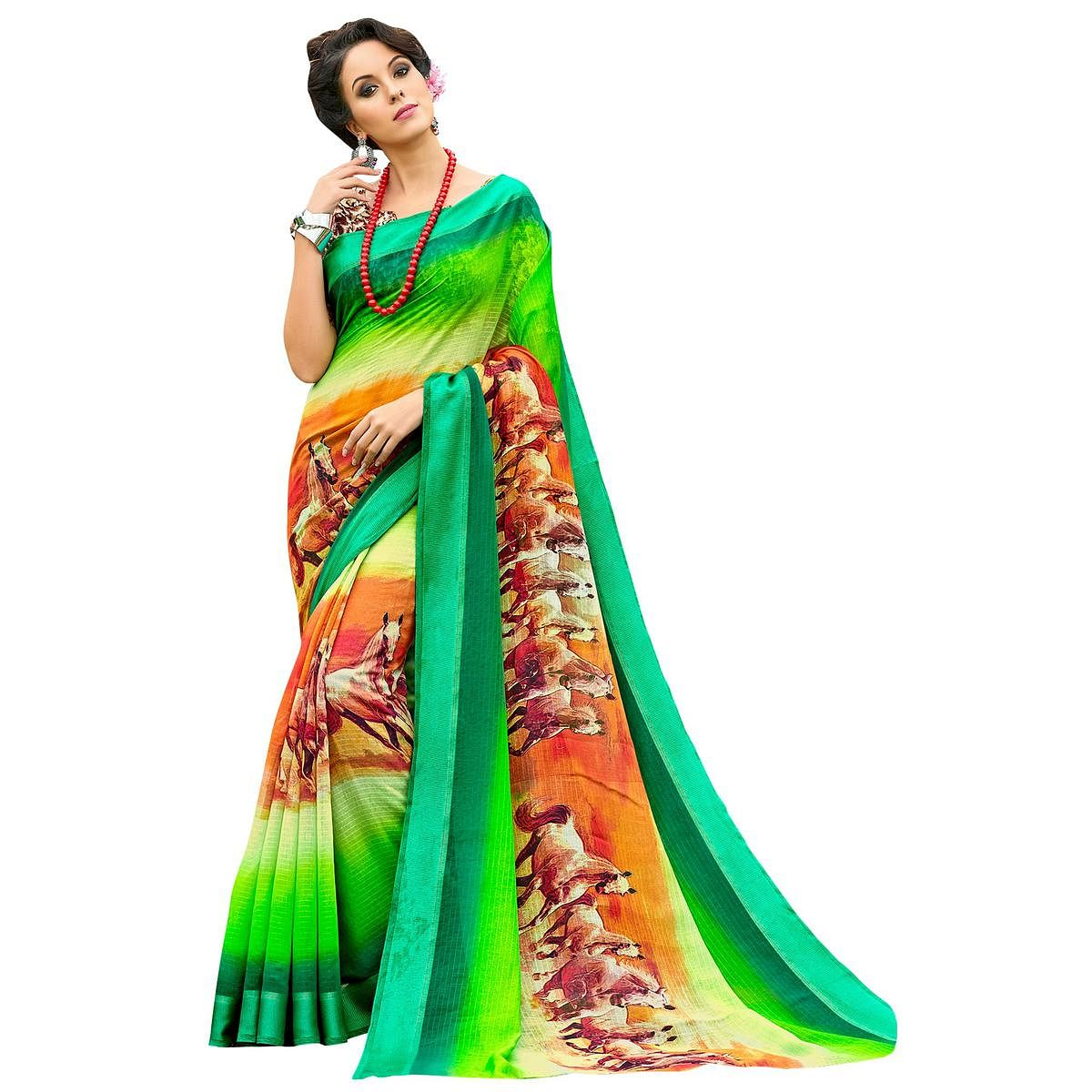 Irresistible Green-Multi Colored Partywear Digital Printed Chanderi Silk Saree