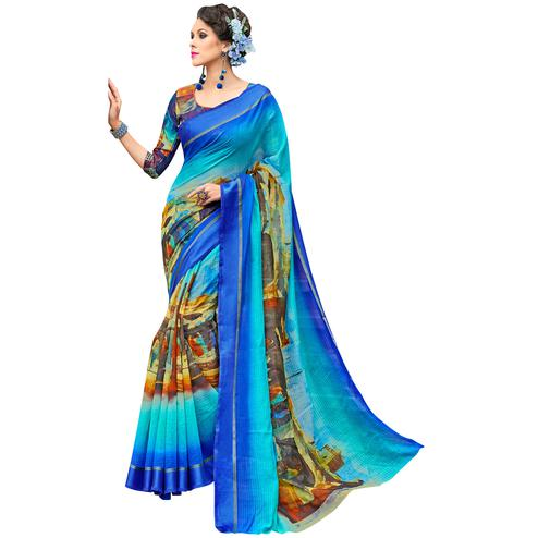 Lovely Blue-Multi Colored Partywear Digital Printed Chanderi Silk Saree