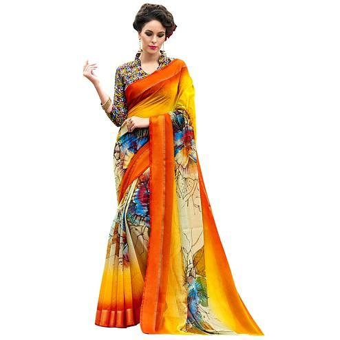 Glowing Orange-Multi Colored Partywear Digital Printed Chanderi Silk Saree