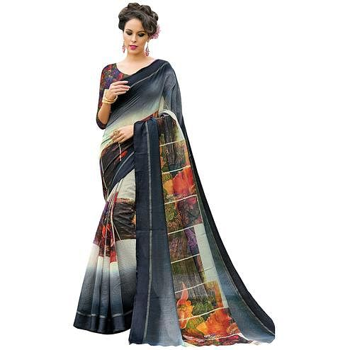 Groovy Gray-Multi Colored Partywear Digital Printed Chanderi Silk Saree