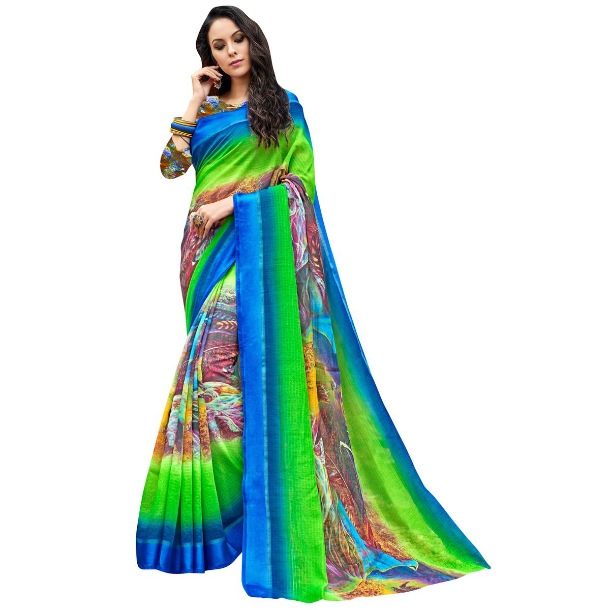 Blooming Blue-Multi Colored Partywear Digital Printed Chanderi Silk Saree