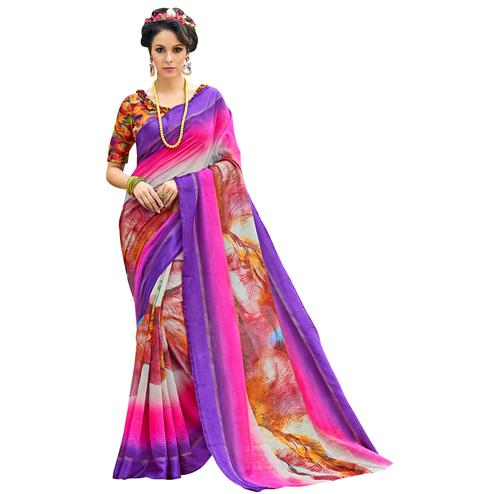 Pretty Purple-Multi Colored Partywear Digital Printed Chanderi Silk Saree
