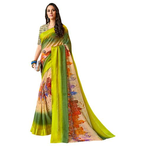 Refreshing Green-Multi Colored Partywear Digital Printed Chanderi Silk Saree