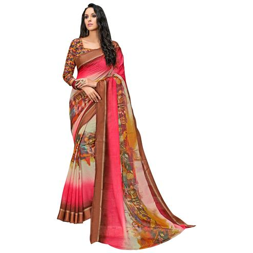 Beautiful Brown-Multi Colored Partywear Digital Printed Chanderi Silk Saree