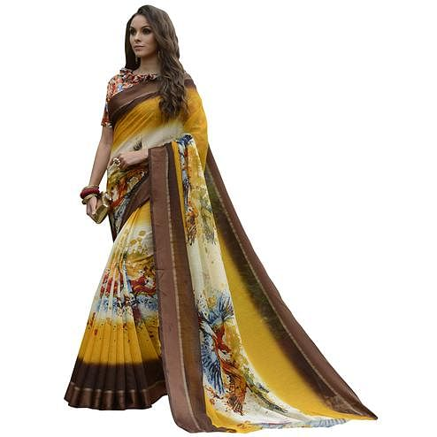Adorning Dark Brown-Multi Colored Partywear Digital Printed Chanderi Silk Saree