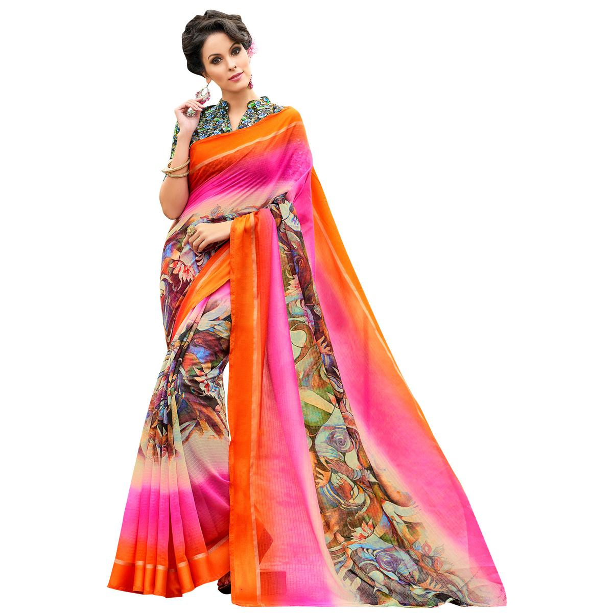 Gleaming Orange-Multi Colored Partywear Digital Printed Chanderi Silk Saree