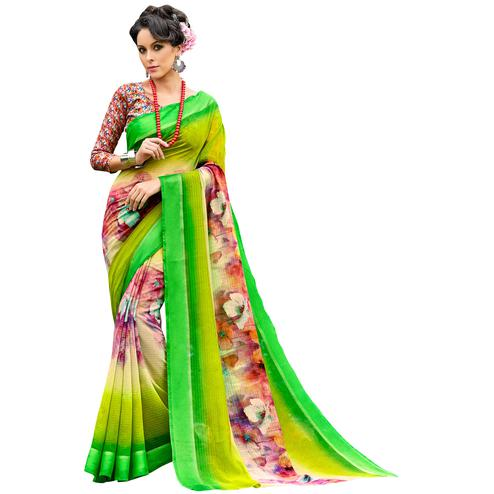 Surpassing Green-Multi Colored Partywear Digital Printed Chanderi Silk Saree