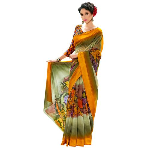 Eye-Catching Orange-Multi Colored Partywear Digital Printed Chanderi Silk Saree