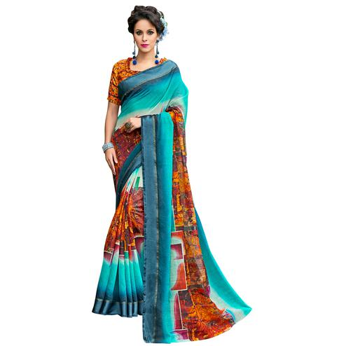 Appealing Aqua Blue-Multi Colored Partywear Digital Printed Chanderi Silk Saree