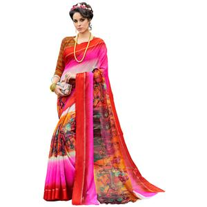Lovable Red-Multi Colored Partywear Digital Printed Chanderi Silk Saree