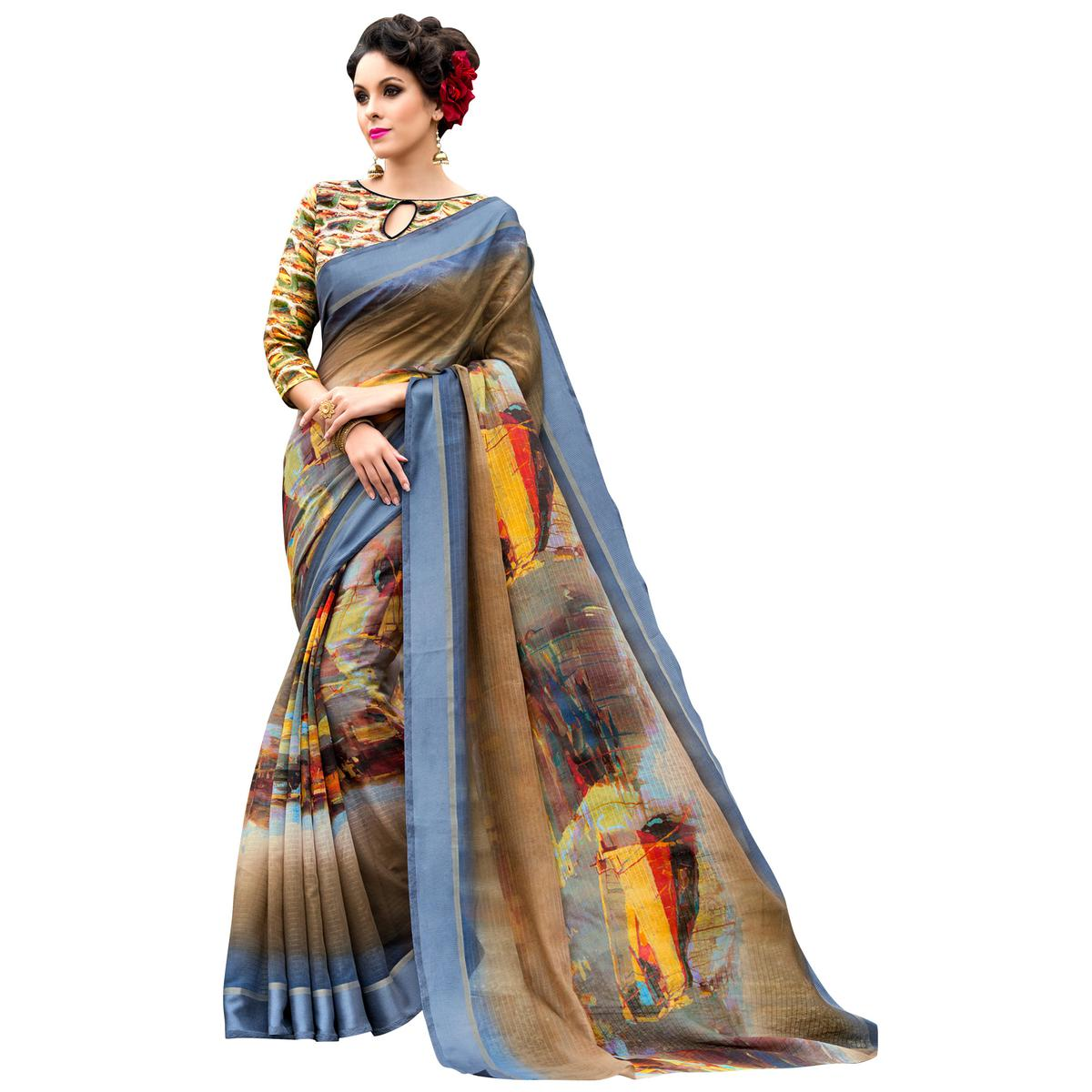 Staring Gray-Multi Colored Partywear Digital Printed Chanderi Silk Saree