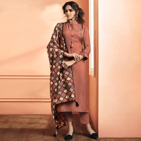 Exceptional Red Mauve Colored Partywear Embroidered Cotton Silk Suit