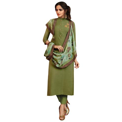Appealing Green Colored Partywear Embroidered Cotton Silk Suit