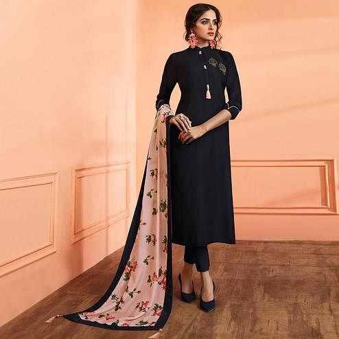 Flamboyant Black Colored Partywear Embroidered Cotton Silk Suit