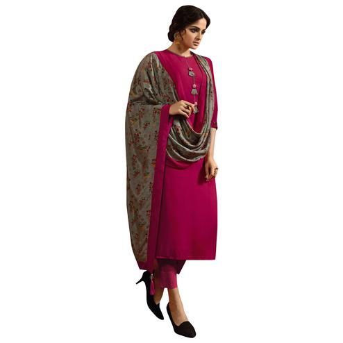 Amazing Rani Pink Colored Partywear Embroidered Cotton Silk Suit