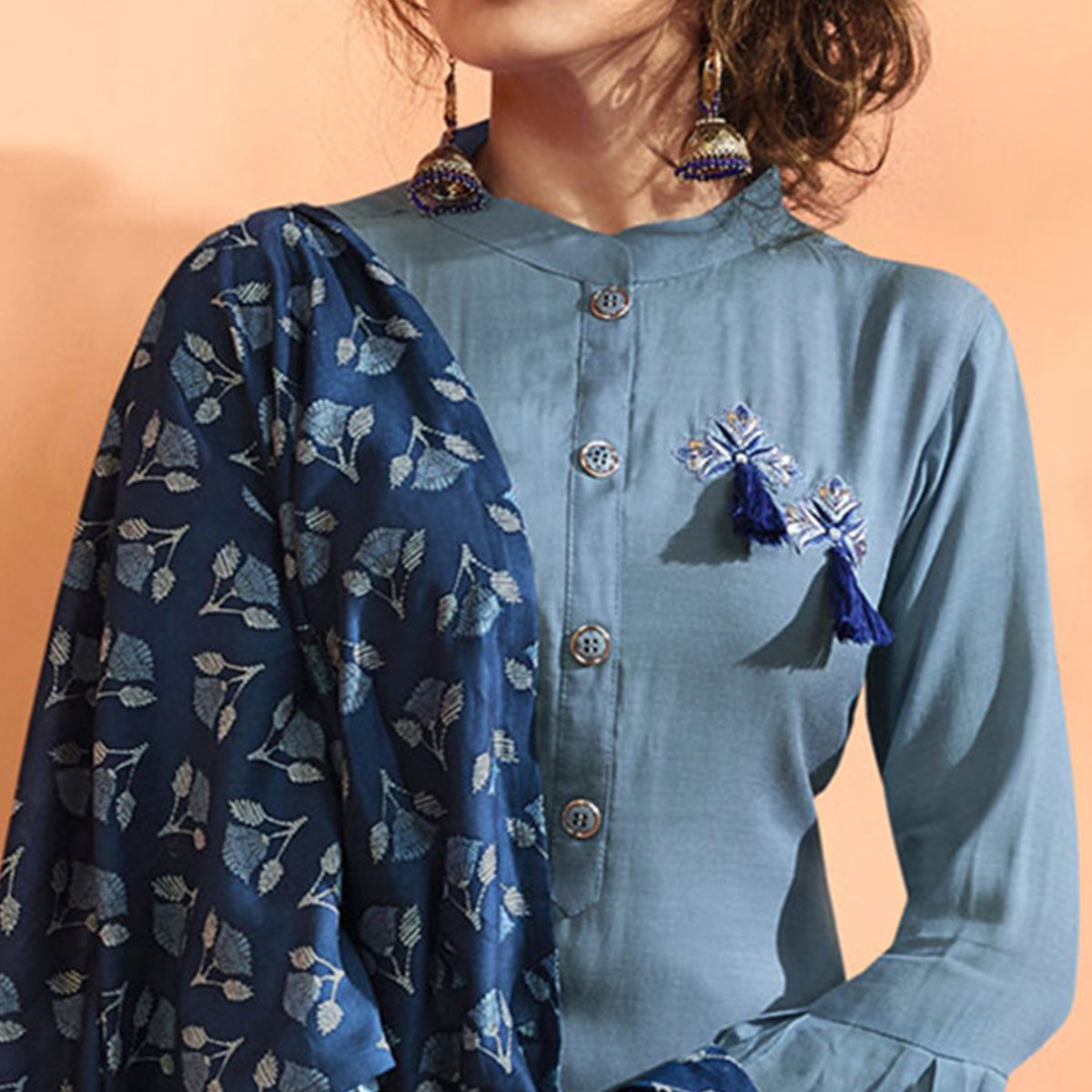Flattering Gray Colored Partywear Embroidered Cotton Silk Suit