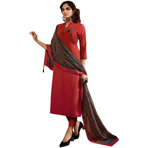 Trendy Red Colored Partywear Embroidered Cotton Silk Suit