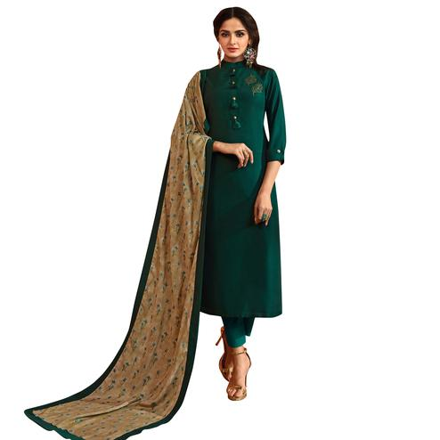 Arresting Dark Green Colored Partywear Embroidered Cotton Silk Suit