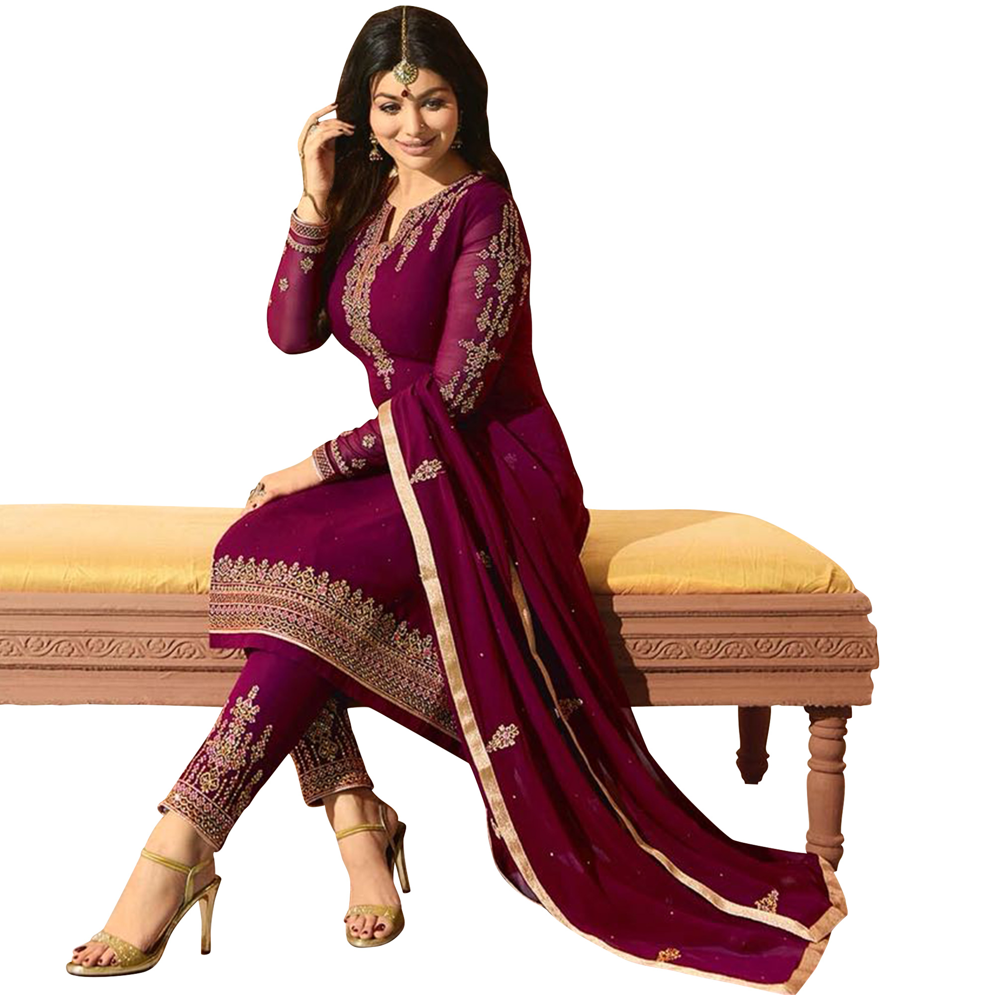 Excellent Wine Colored Partywear Embroidered Georgette Suit