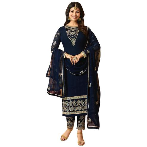 Demanding Navy Blue Colored Partywear Embroidered Georgette Suit