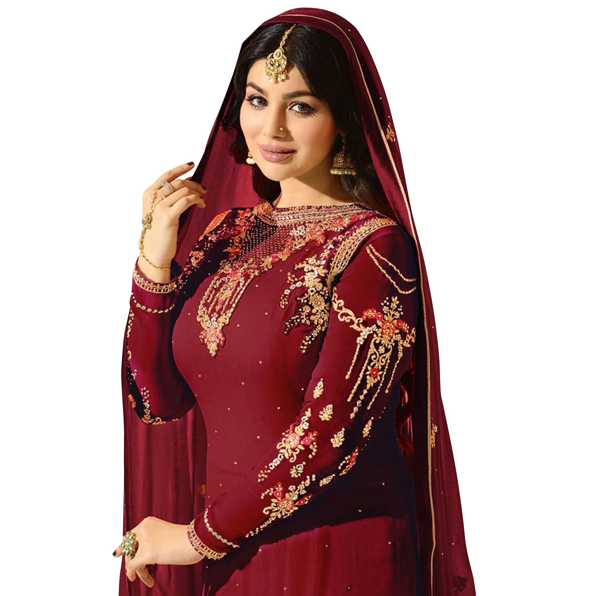 Glowing Red Colored Partywear Embroidered Georgette Suit