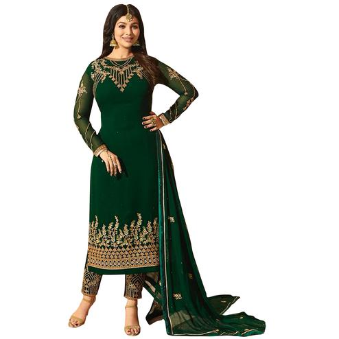 Refreshing Green Colored Partywear Embroidered Georgette Suit