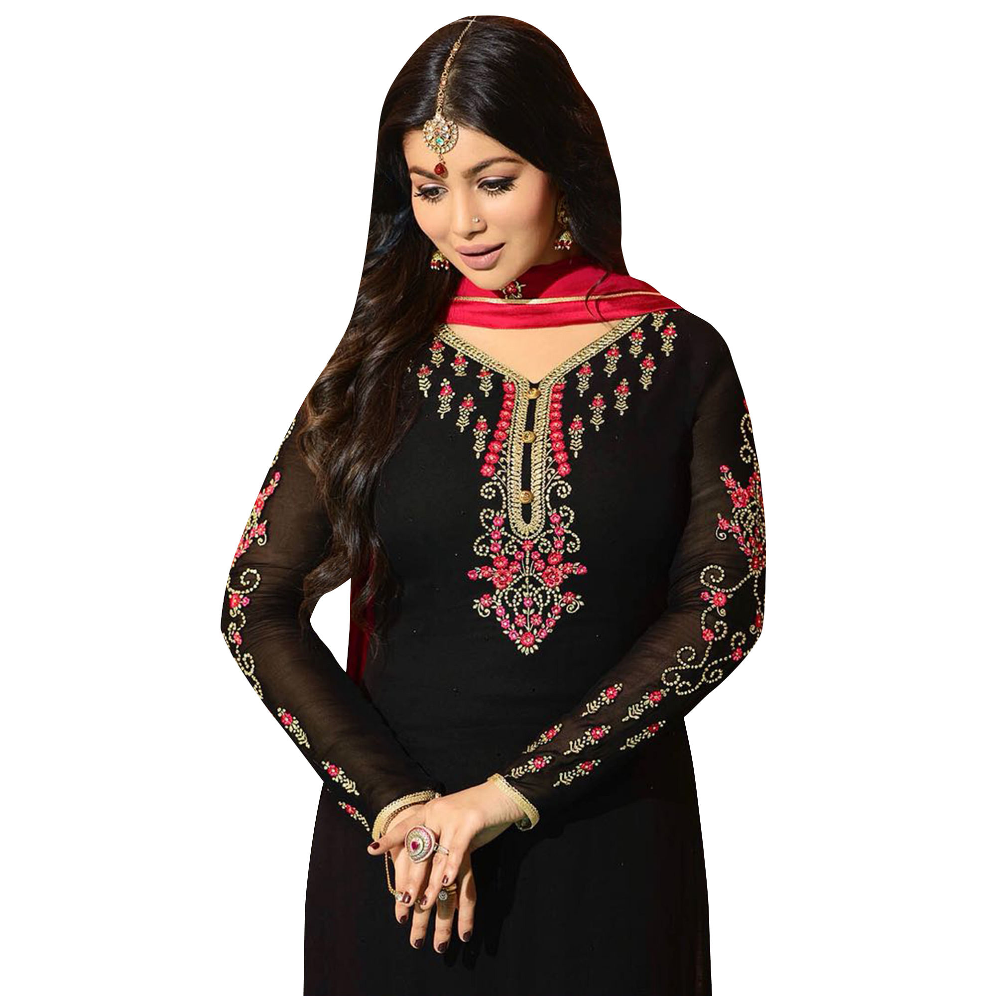 Arresting Black Colored Partywear Embroidered Georgette Suit