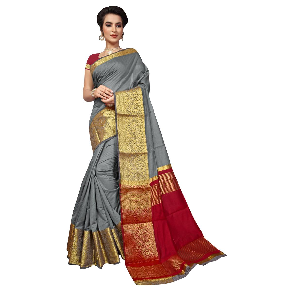 Lovely Gray Colored Festive Wear Woven Cotton Silk Saree