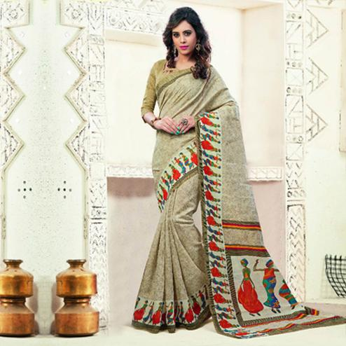 Cream Bhagalpuri Silk Traditional Design Saree