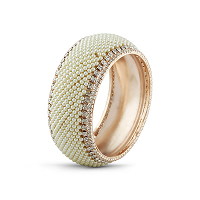 Rose Gold Finish Pearl & Stone Designer Bangle