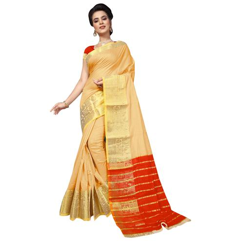 Pleasant Beige Colored Festive Wear Woven Cotton Silk Saree