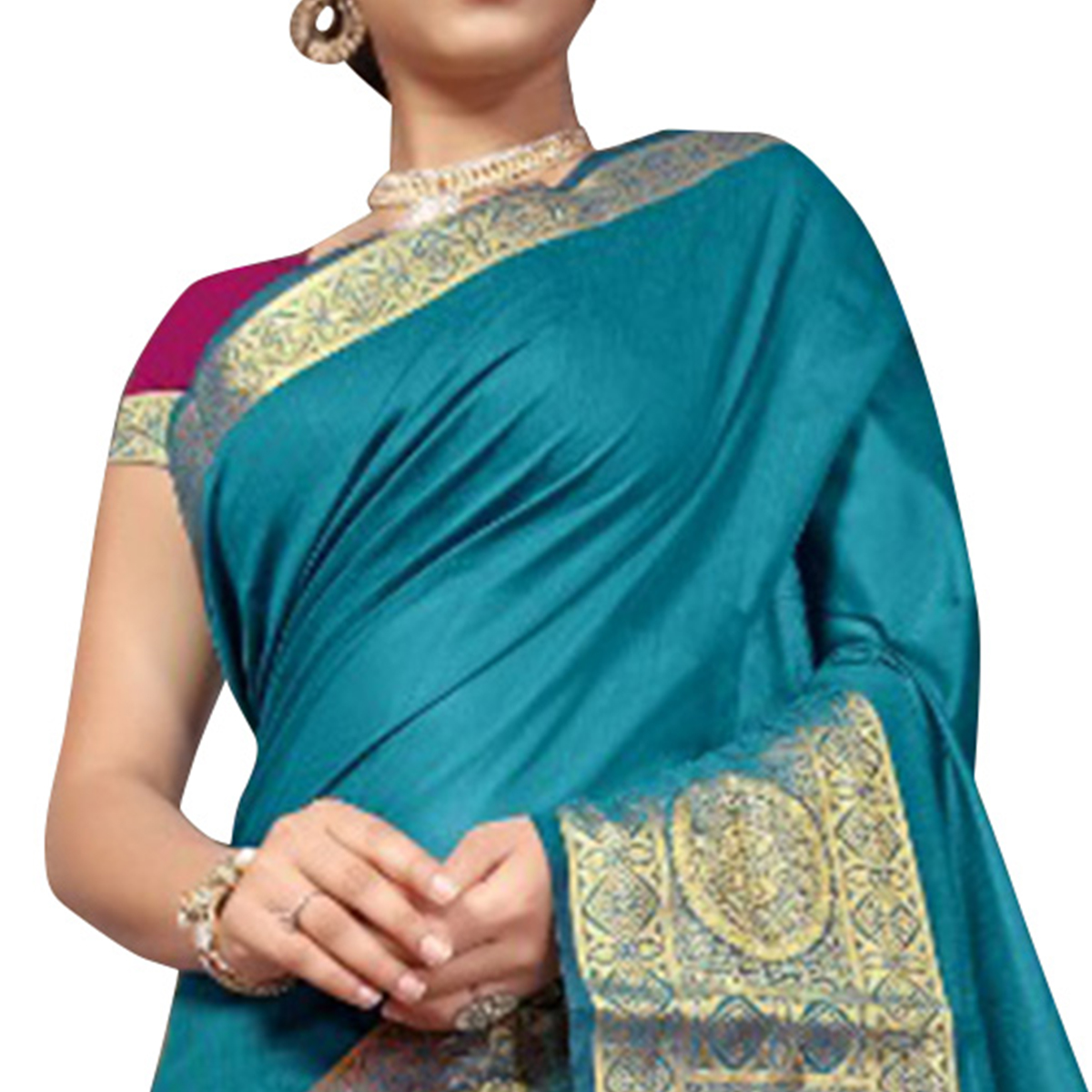 Appealing Blue Colored Festive Wear Woven Cotton Silk Saree