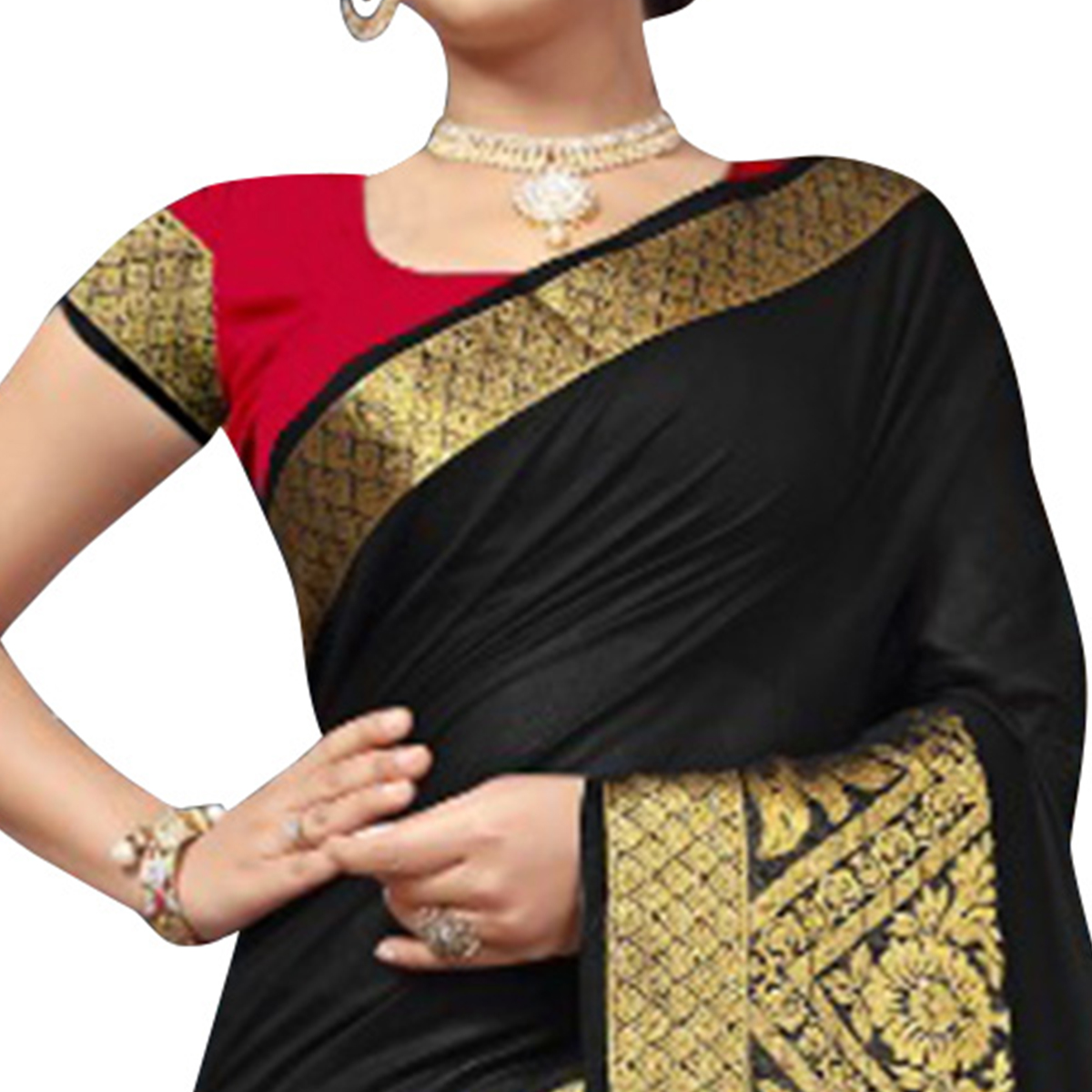 Demanding Black Colored Festive Wear Woven Cotton Silk Saree