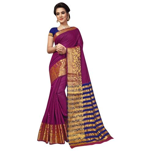 Mesmerising Dark Pink Colored Festive Wear Woven Cotton Silk Saree